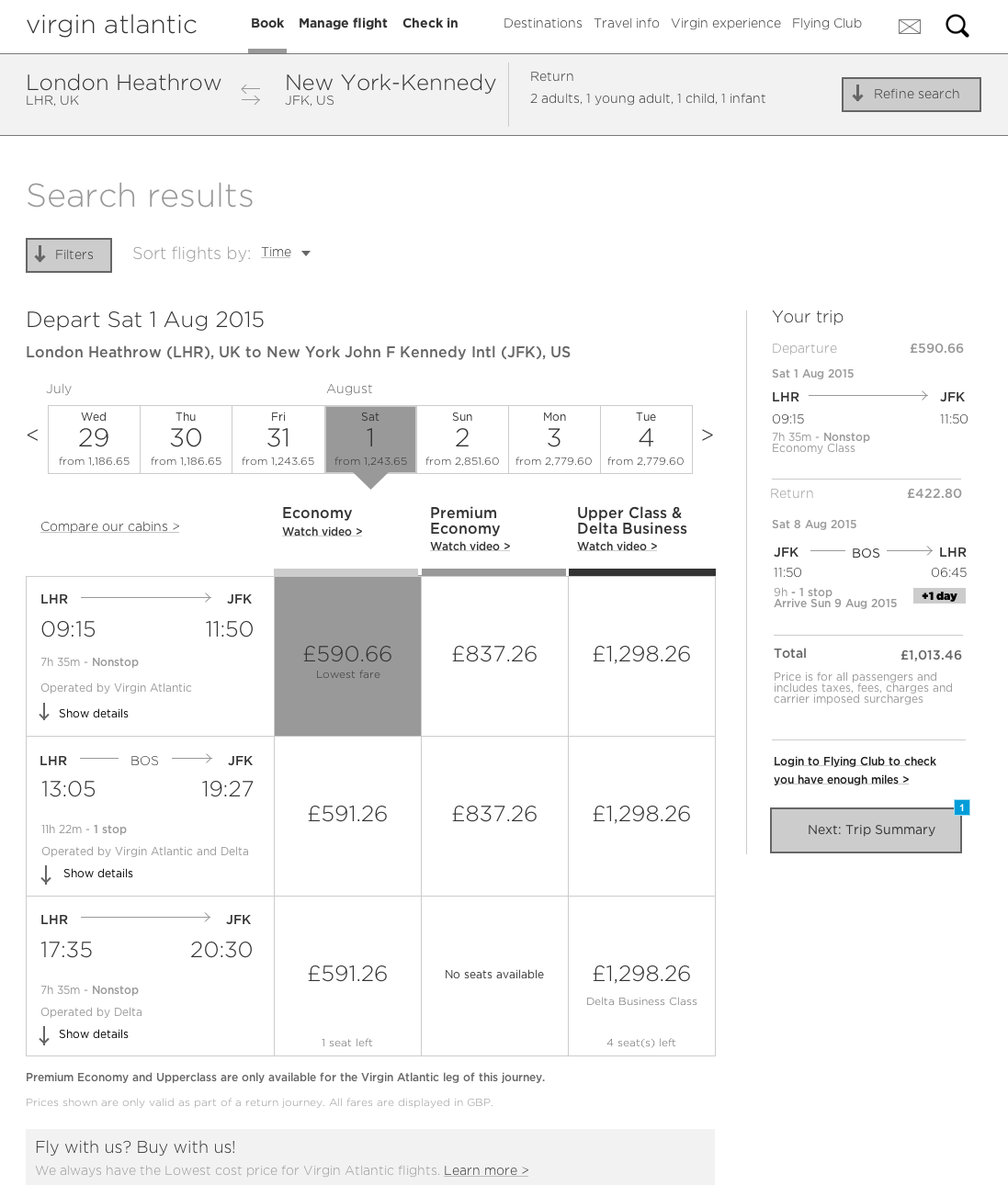 Wireframe - flight search results
